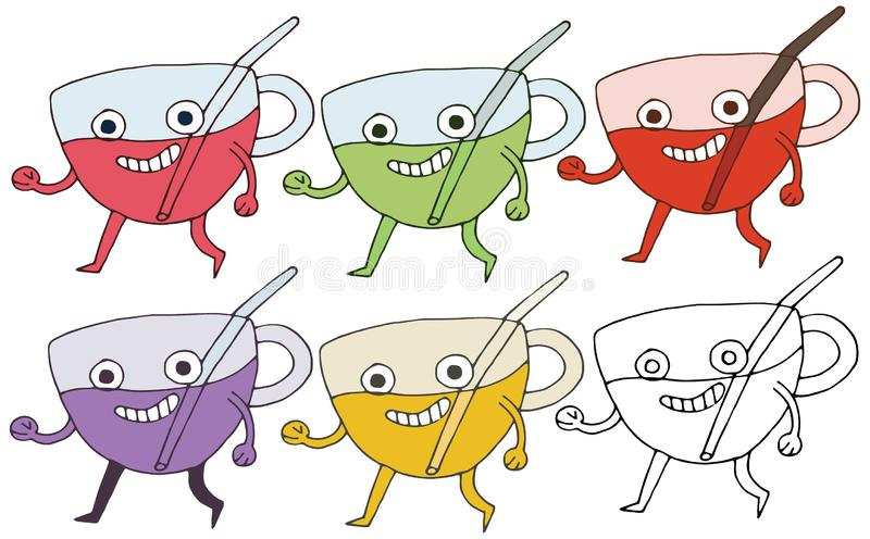 Print cartoon doodle cup monster color set hand draw happy funny stock illustration