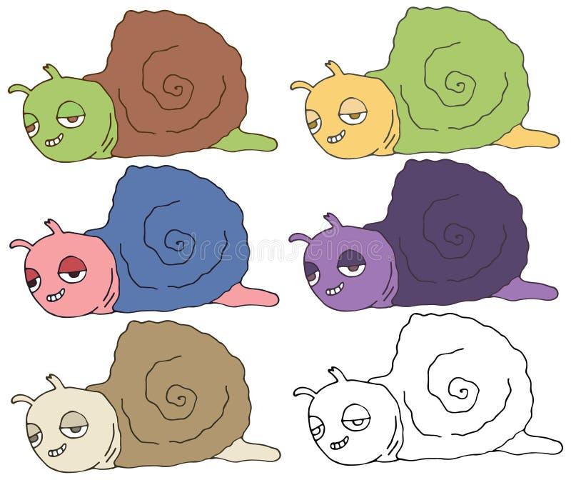 Print cartoon doodle happy snail monster color set hand draw vector illustration