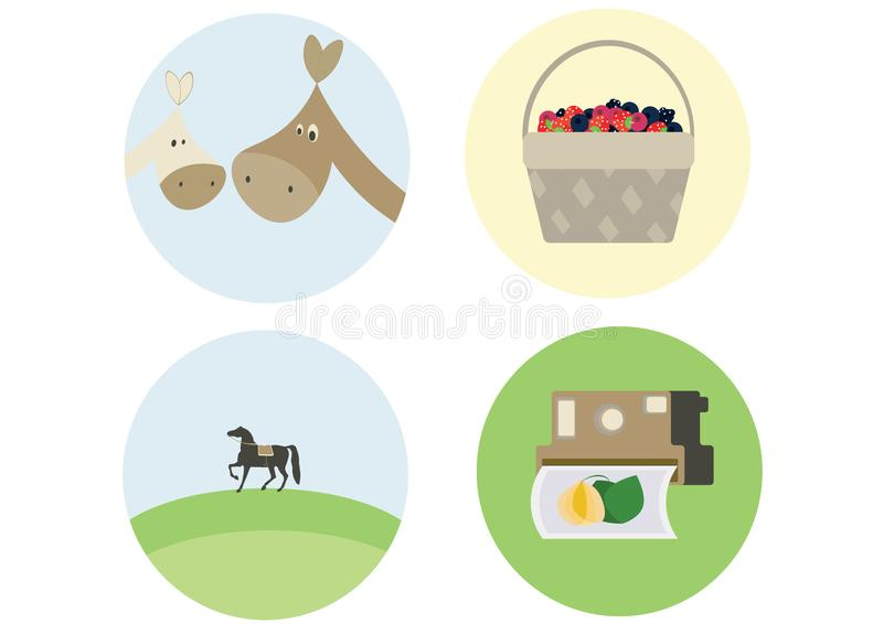 Print cartoon doodle horse photograph berries color flat set to do stock illustration