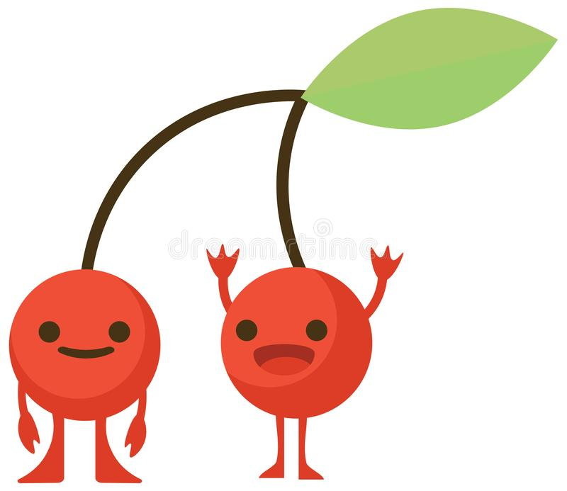 Print cartoon doodles summer color set citrus fruit flat cherry monster happy vector illustration