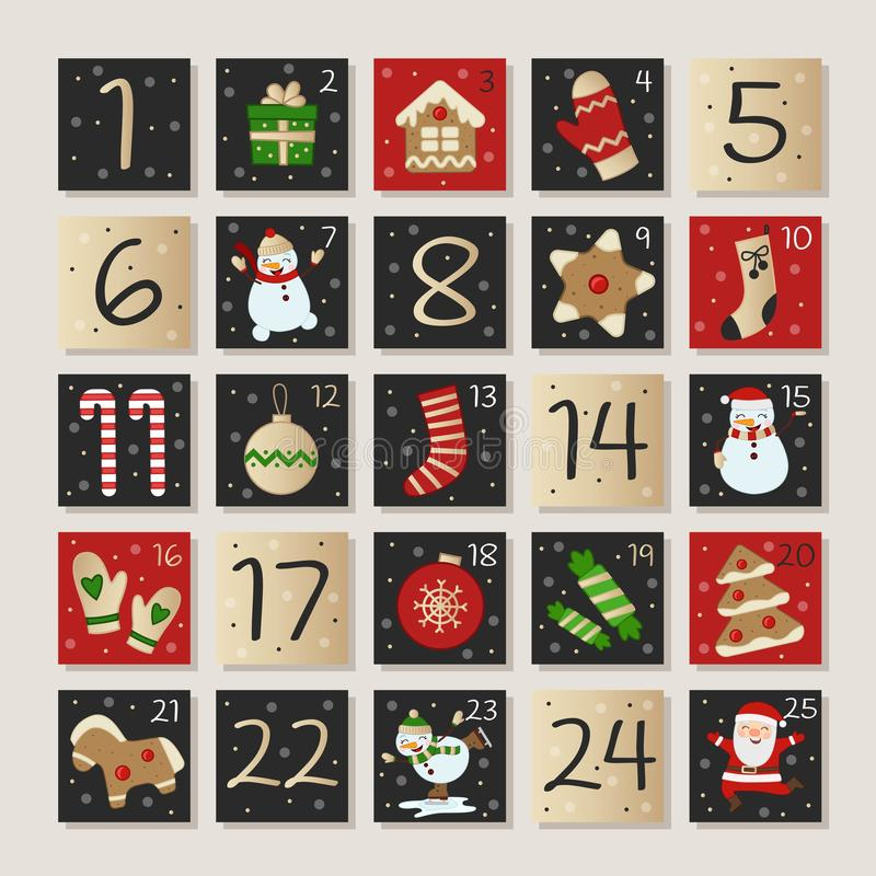Advent calendar vector. Christmas advent calendar, Vector illustration royalty free illustration