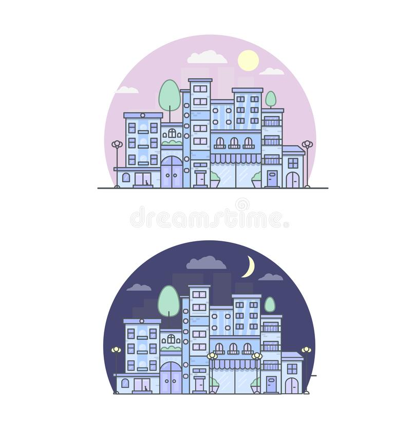 Print city street day and night vector illustration urban royalty free illustration