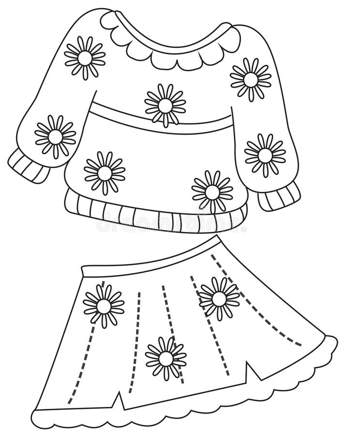 Print clothes coloring page stock illustration for Clothing coloring page