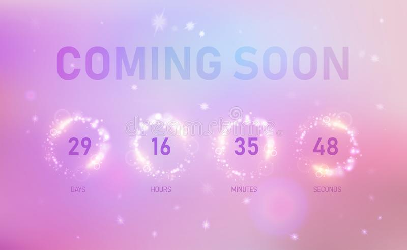 Coming soon banner showing how much time is left vector illustration