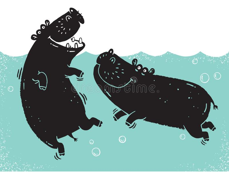 Simple back cartoon hippos silhouette stock illustration