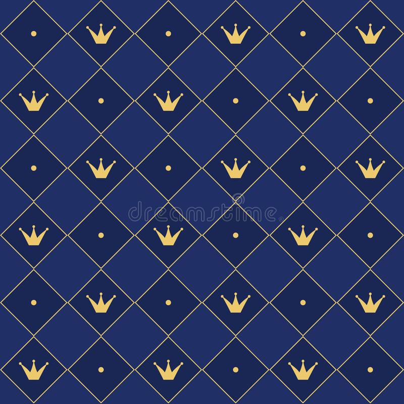Navy blue seamless pattern in retro style with a gold crown. Can be used for premium royal party. royalty free illustration
