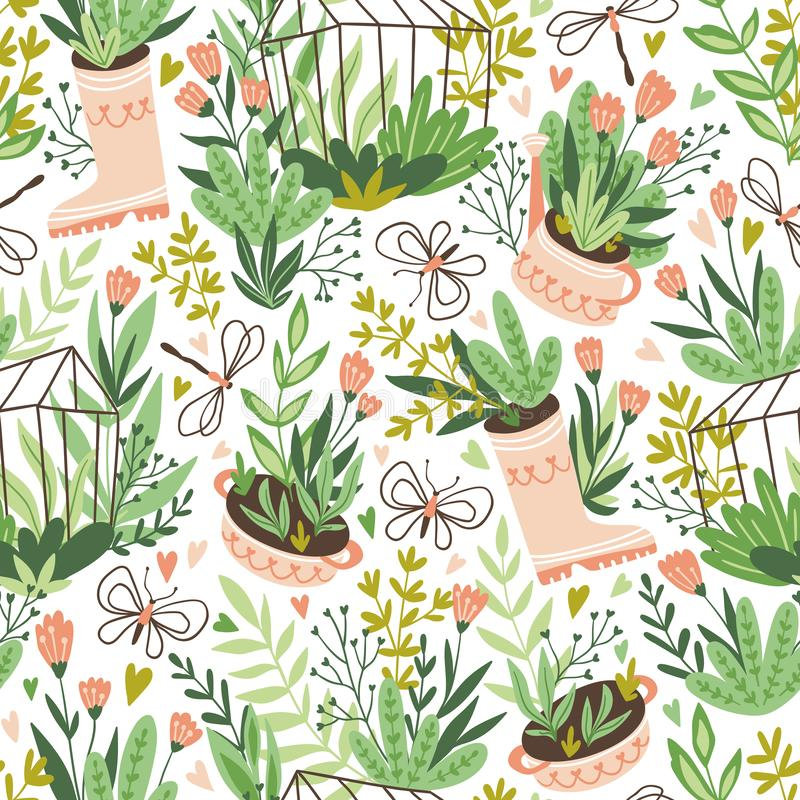 Cute vector seasonal seamless pattern. Growing flowers and plants in the greenhouse. Spring endless garden background. stock illustration