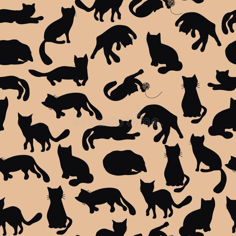 Doodle black funny cats seamless pattern stock illustration