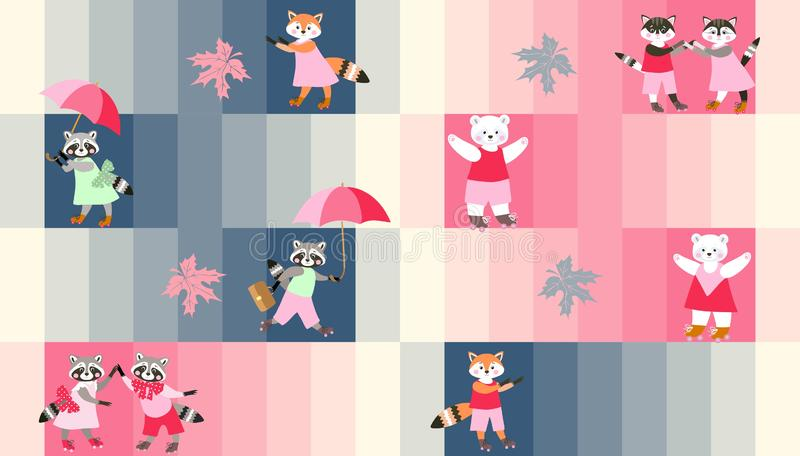 Print for fabric with cute pet and woodland animals on colorful striped background. royalty free illustration