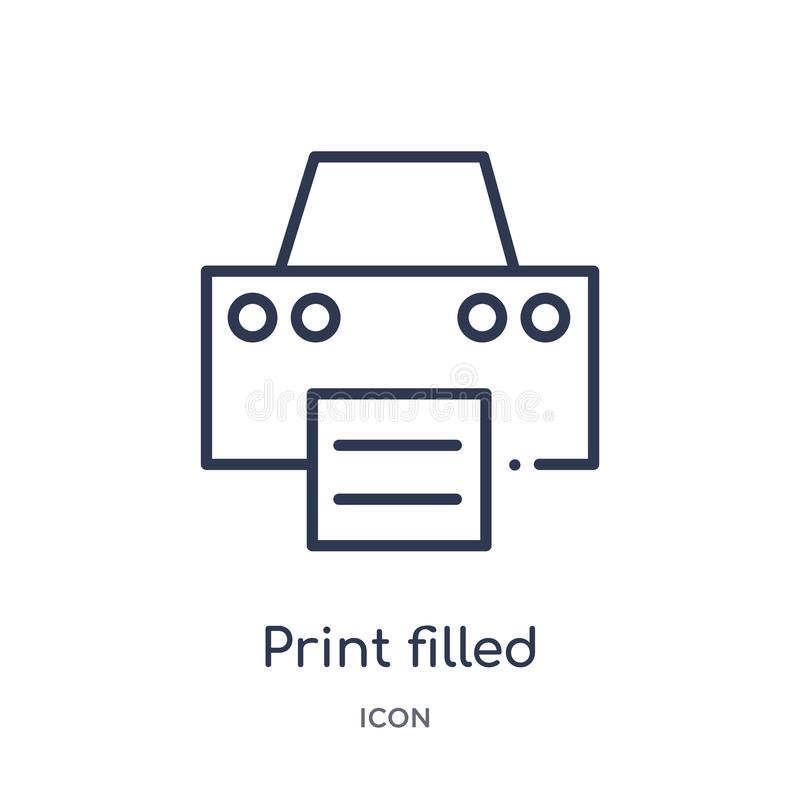 print filled interface tool icon from user interface outline collection. Thin line print filled interface tool icon isolated on vector illustration