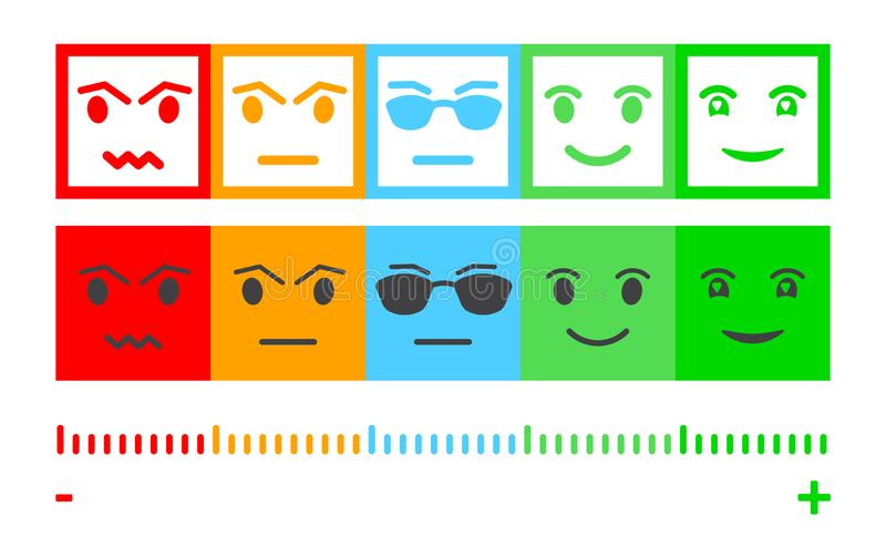 Five Color Faces Feedback/Mood. Set five faces scale - smile neutral sad - isolated vector illustration. Scale bar rating feedback stock illustration