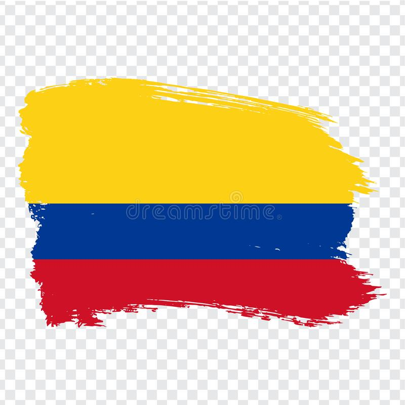 Flag Colombia, brush stroke background. Flag of Colombia on transparent background. Stock vector. Flag for your web site design. Logo, app, UI. Vector royalty free illustration