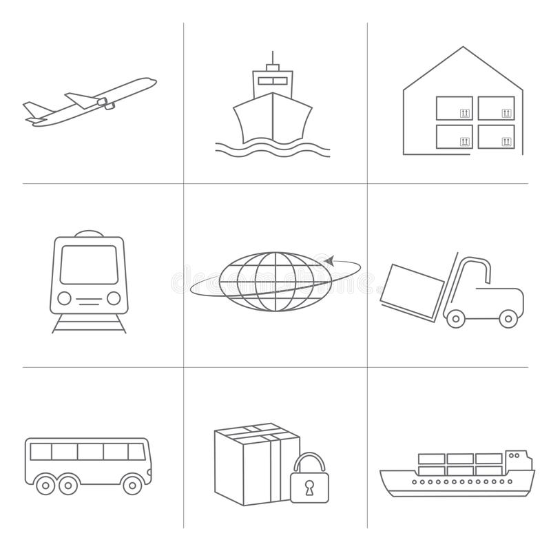 Flat Icons set of Global logistics network. Logistic icons for your web site design, logo, app, UI. Global logistics network. vector illustration