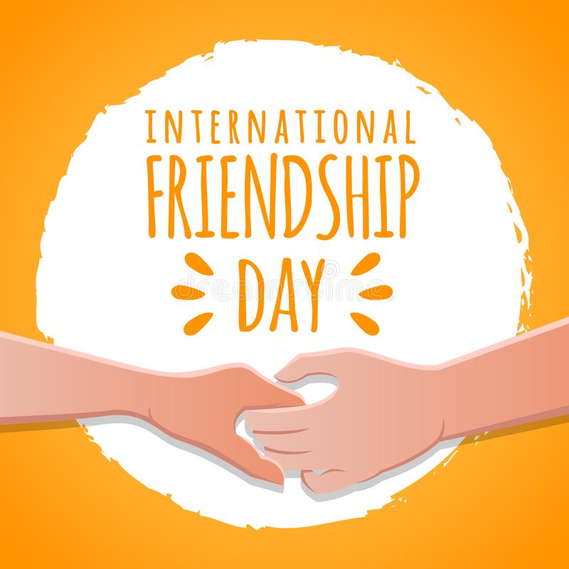 Friendship day concept. hands holding each other stock vector illustration. greeting card design for happy friendship day. Friendship day concept. hands holding vector illustration