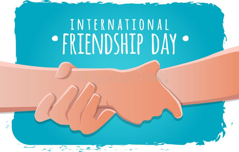 Friendship day concept. hands holding each other strongly stock vector illustration. greeting card design for happy friendship day. Friendship day concept. hands vector illustration