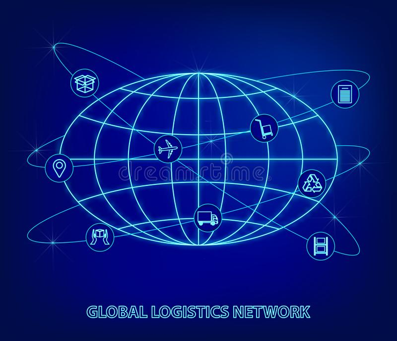 Global logistics network. Map global logistics partnership connection. Globe and logistics icons in the form of satellites in neon. Style. Flat design. Vector stock illustration