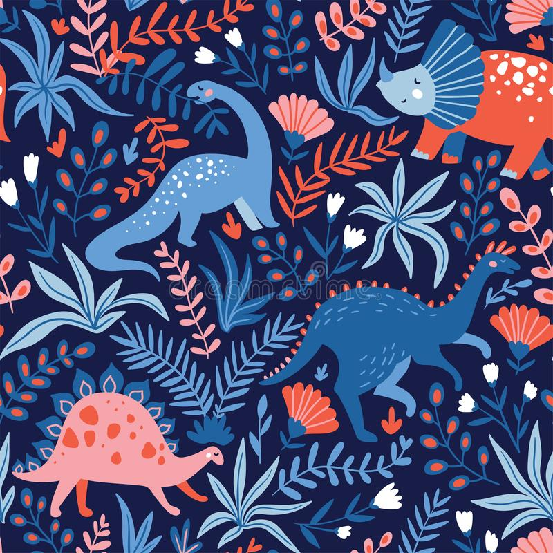 Hand drawn seamless pattern with dinosaurs and tropical leaves and flowers. Perfect for kids fabric, textile, nursery wallpaper. Cute dino design. Vector royalty free illustration