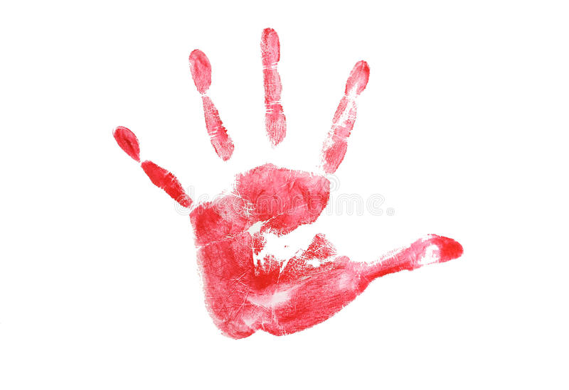 Print of hand skin texture pattern grunge. Red color royalty free stock photo