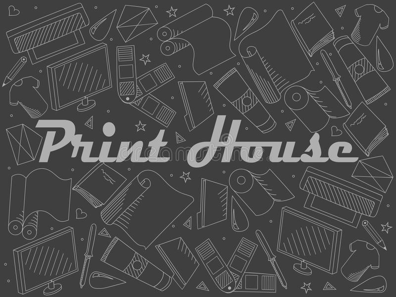 Print house piece of chalk line art design vector. Separate objects. Hand drawn doodle design elements. Print house piece of chalk line art design vector royalty free illustration
