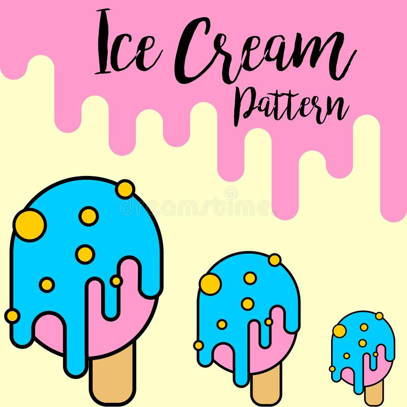 Print Ice cream blue pattern stock illustration