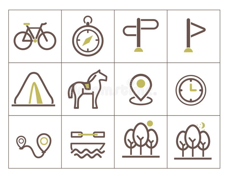 Print icons for ecotourism stock illustration