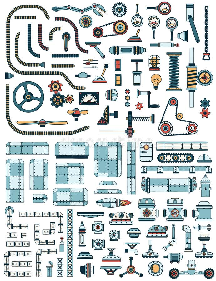 Print. Large collection of steampunk machinery spare parts, devices, pipes, mechanisms and details stock illustration