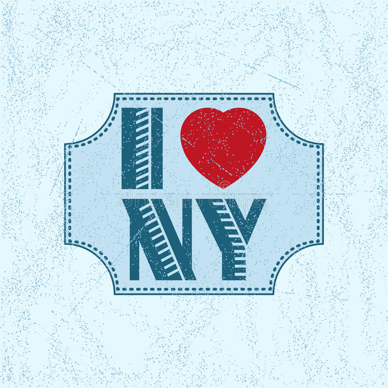 Print with lettering I Love NY stock illustration