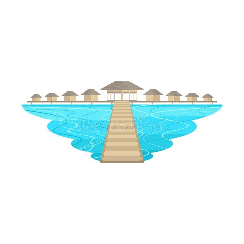 Maldives Beach Island and Resort Bridge Landscape. Vector vector illustration