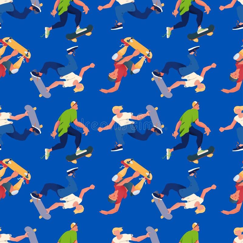 Man skateboarders pattern. Flat vector seamless pattern. Cool guys ride on skateboard, blue background. For textile, promo of goods for skateboarding sport stock illustration