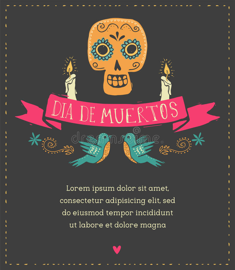 Print - mexican skull, day of the dead vector illustration
