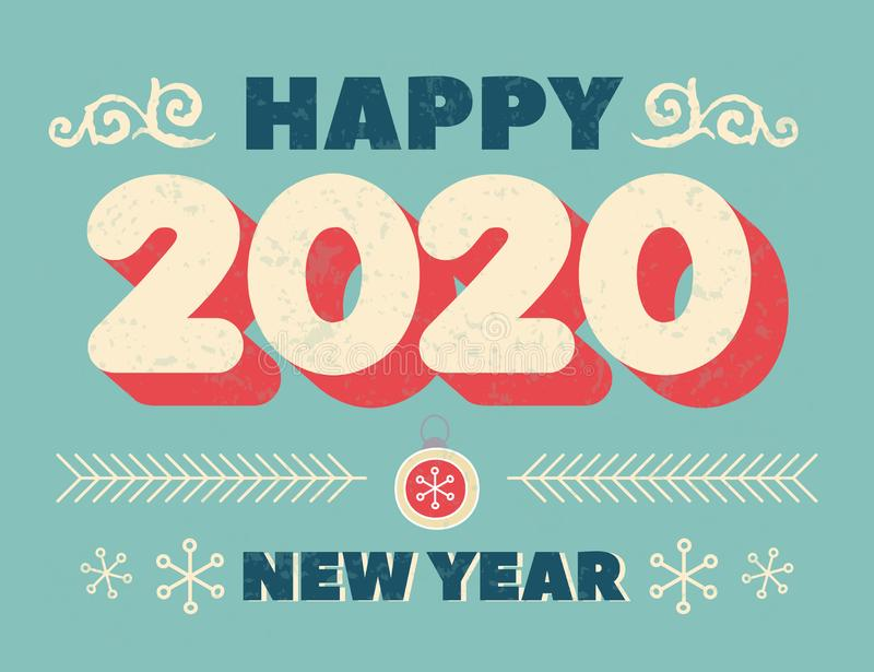 Numbers 2020 Christmas New Year lettering clip art, isolated print. Handwritten Vintage poster or greeting card. Vector Happy New royalty free illustration