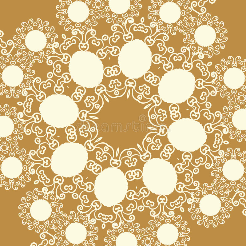 Print in oriental style of light brown sepia color tone vector illustration
