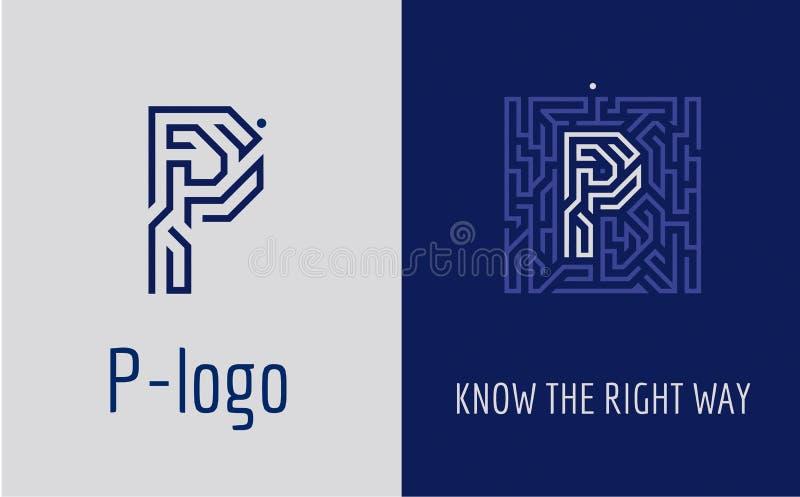 Print P letter maze vector illustration
