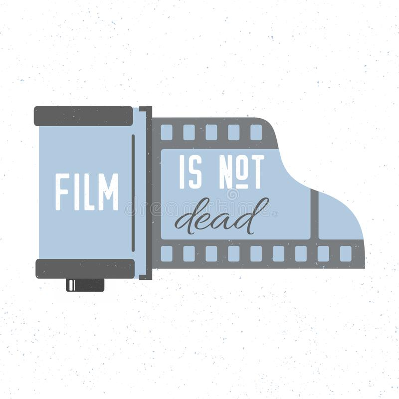 Print with photographic film cassette icon. Film is not dead. Vector trendy illustration. royalty free illustration