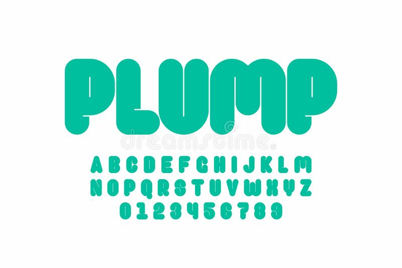 Plump font. Design, thick alphabet letters and numbers royalty free illustration