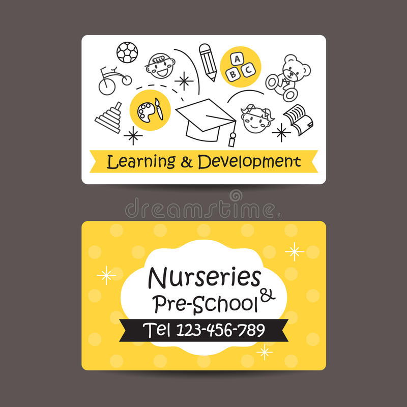 Print Preview Business Card, Nursery And Preschool Stock Vector ...