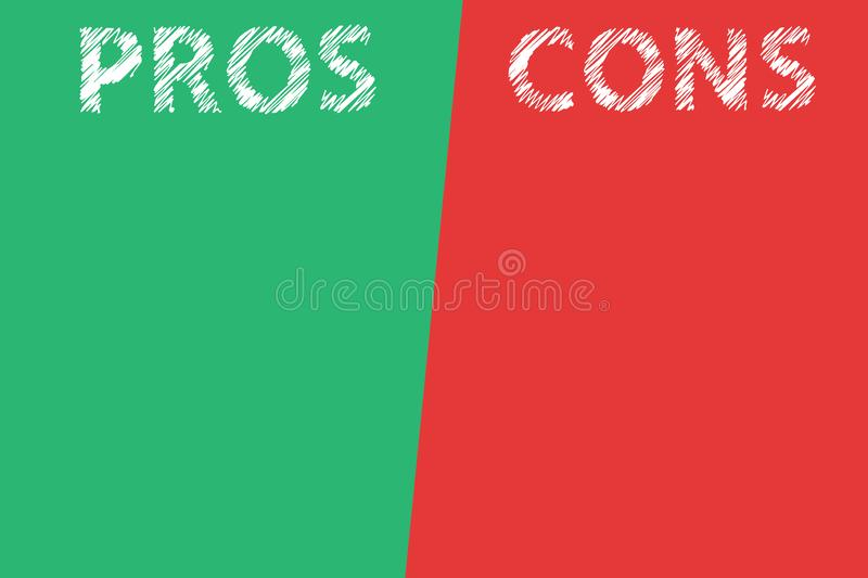 Pros and cons assessment analysis word text transparent on divided list green red background stock illustration