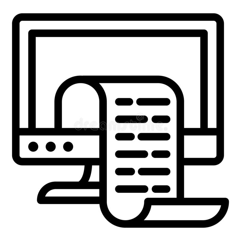 Print screen icon, outline style stock illustration
