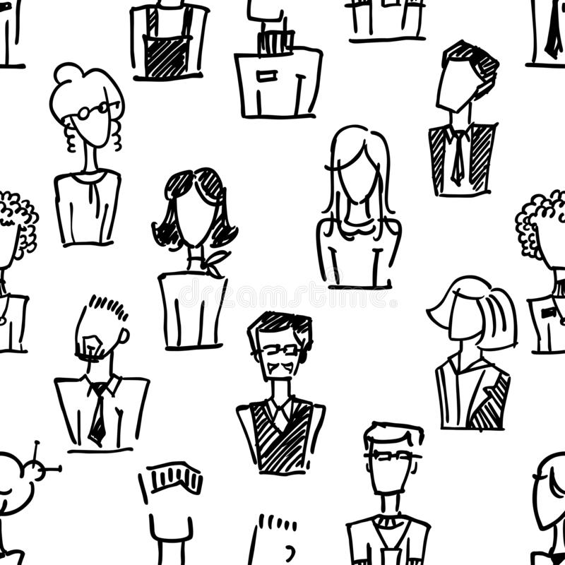 A seamless pattern with vector dooodle business avatars for presentation design and web site. A set of vector dooodle businees ava. Tar for presentation design vector illustration