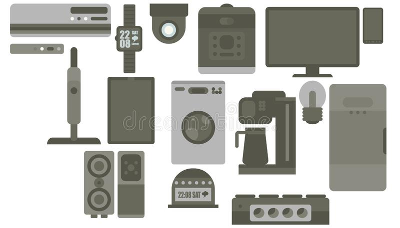 Print set color gray smart gadgets flat style device royalty free illustration