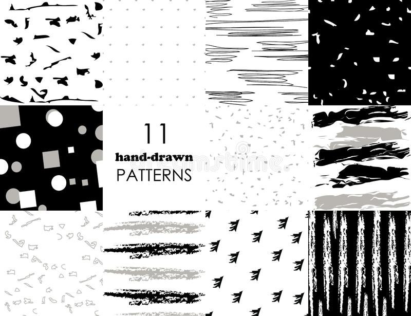 Set of 11 hand drawn trendy patterns with ink brush strokes.. Isolated on white and black backgrounds. Vector patterns vector illustration