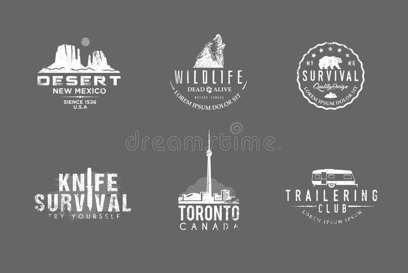 Print. Set of premium labels on the themes of wildlife, nature, hunting, travel, wild nature, climbing, camping, life in the mountains, survival Retro, vintage vector illustration