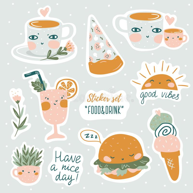 Set of vector cute doodles illustrations with text and graphic design elements. Trendy design for kid stickers. Set of vector cute doodles illustrations with royalty free illustration