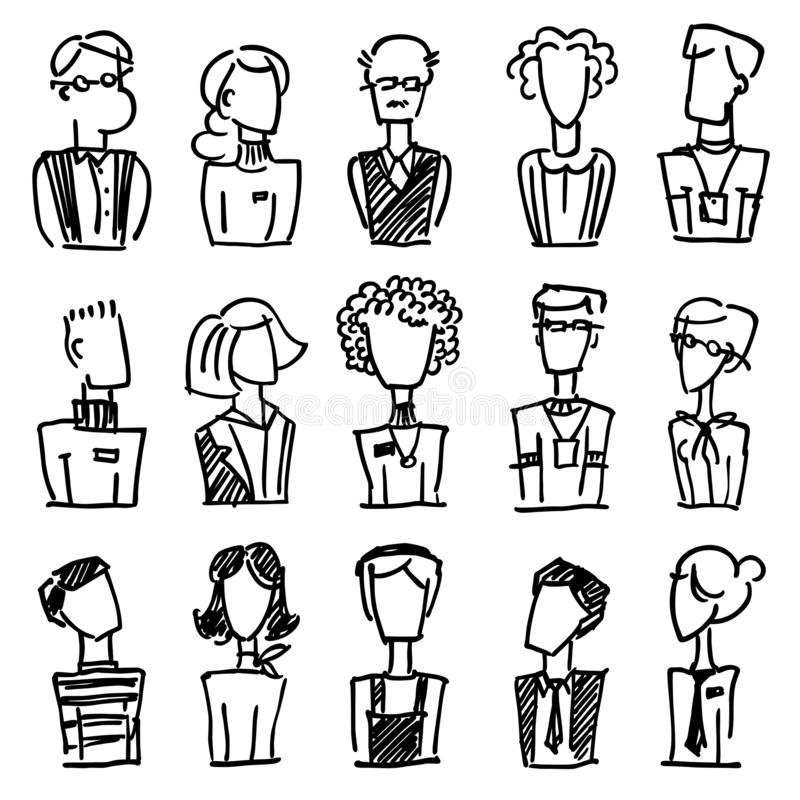 A set of vector dooodle business avatar for presentation design and web site. A set of vector dooodle businees avatar for presenta. Tion design and web site vector illustration