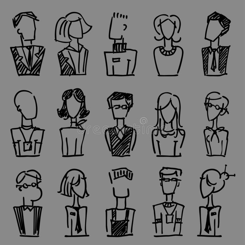 A set of vector dooodle business avatar for presentation design and web site. A set of vector dooodle businees avatar for presenta. Tion design and web site royalty free illustration