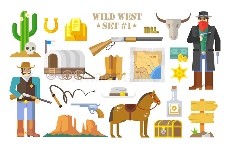 Print. Set of vector elements on the theme of wild West. Cowboys. Life in the wild West. The development of America. Modern flat style. Part one stock illustration