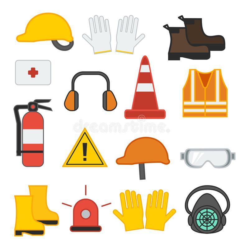 Set of vector illustration safety equipment royalty free illustration