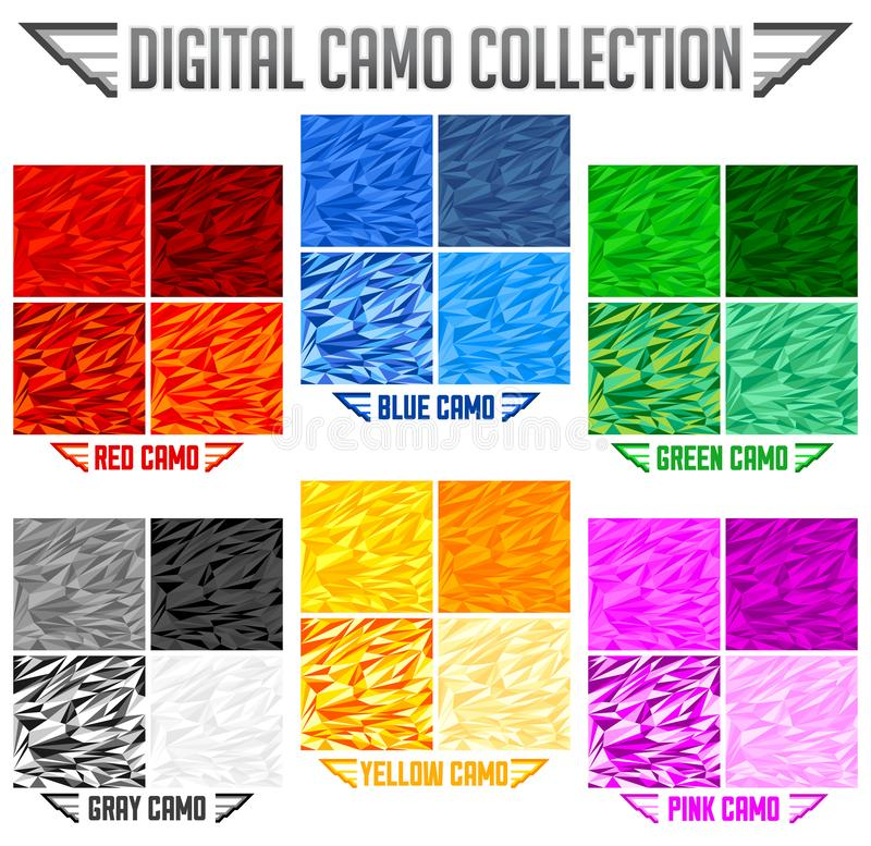 Color Camo Seamless Vector Camouflage collection, Pattern Set royalty free illustration