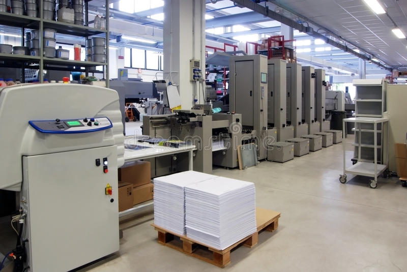 Print shop - Finishing line stock photography