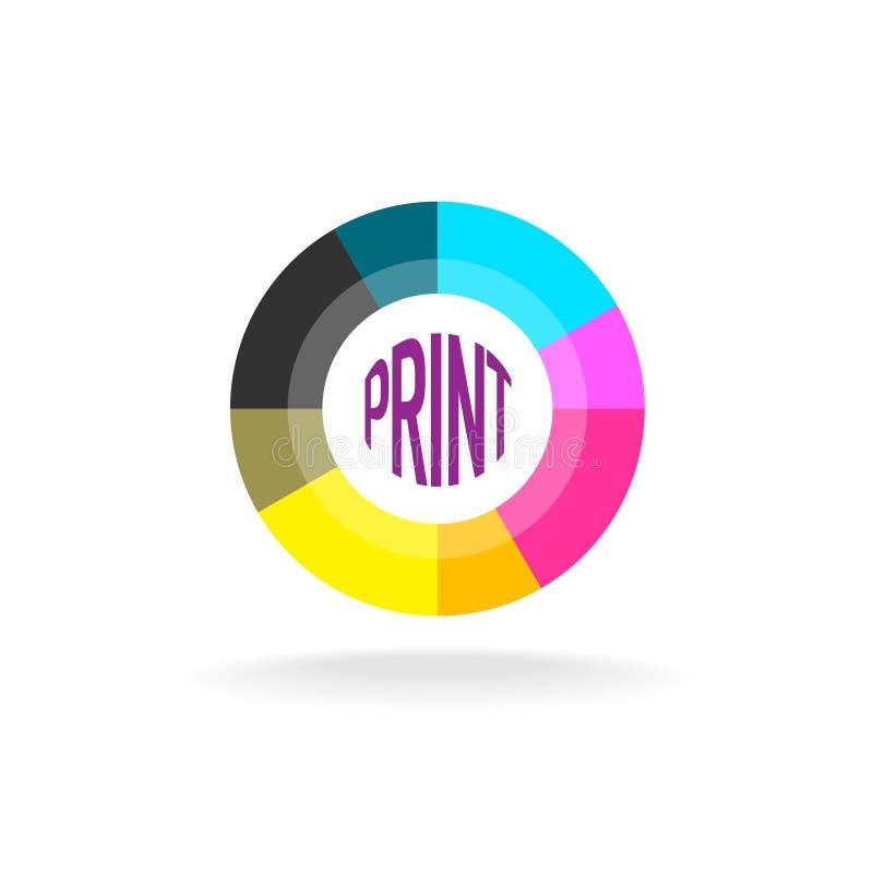 Print shop round logo template royalty free illustration